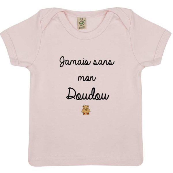 Tee-shirt Bébé Jamais sans mon doudou